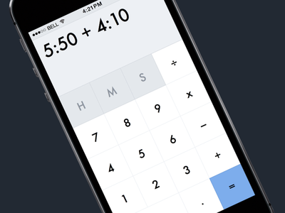 Calculating Time calculator time iphone ios white grey blue