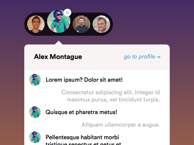 Chat Menu & Dropdown chat message messaging tan avatar gradient