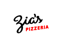 Zia's Pizzeria Logotype red pizza lettering logotype