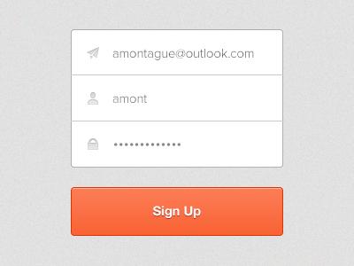 Sign Up Interface orange sign up