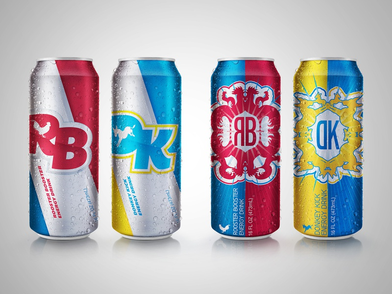 Rooster Booster/Donkey Kick Energy Drink concepts graphic design art direction packaging design package design
