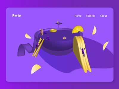 Pool party keep making purple futuristic landing hero 3d web isometric illustration poolparty