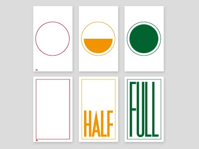 NULL HALF FULL Series empty circle square space occupation volume design typography null half full full half null