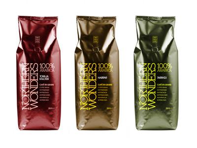NORTHERN WONDERS Coffee Collection graphic design packaging design green brown red tarrazu harrar toraja kalossi arabica coffee northern wonders