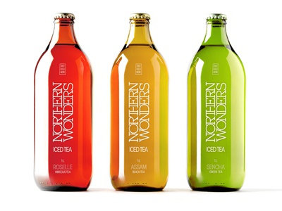 NORTHERN WONDERS Iced Tea Collection graphic design packaging sencha assam roselle iced tea northern wonders