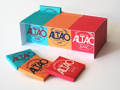 ALTAO typeface logotype dark milk white chocolate coffee accompaniment colourful packaging design graphic design french chocolate altao