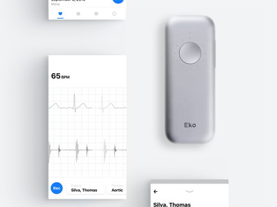 Medical App for Heart Sounds and ECG heart ux ui ekg ecg stethoscope mobile medical health interface clean app