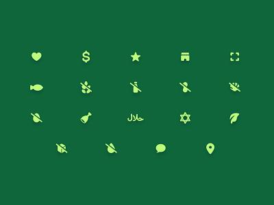 Dietary Preference Icon Set design ui illustration vector branding icon ux icon set icon design iconography