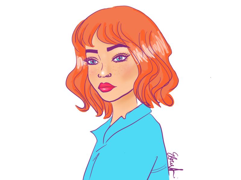Retro Redhead drawing sketch procreate app digital artist retro procreate design girl 80s illustration