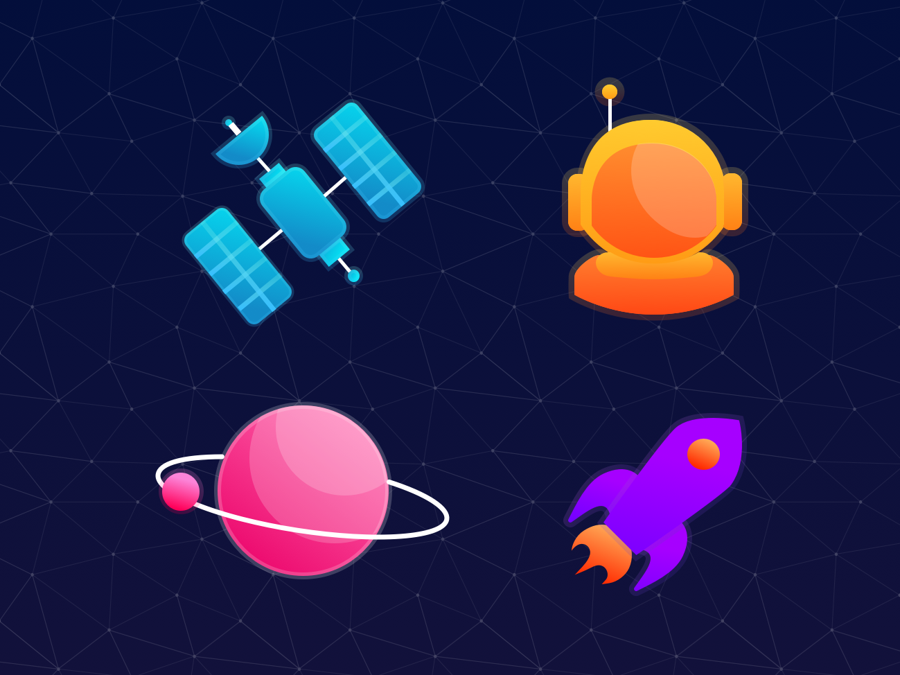 Space Icons orbit rocket man satellite galaxy vector planet sky stars astronaut space adobe illustrator illustration