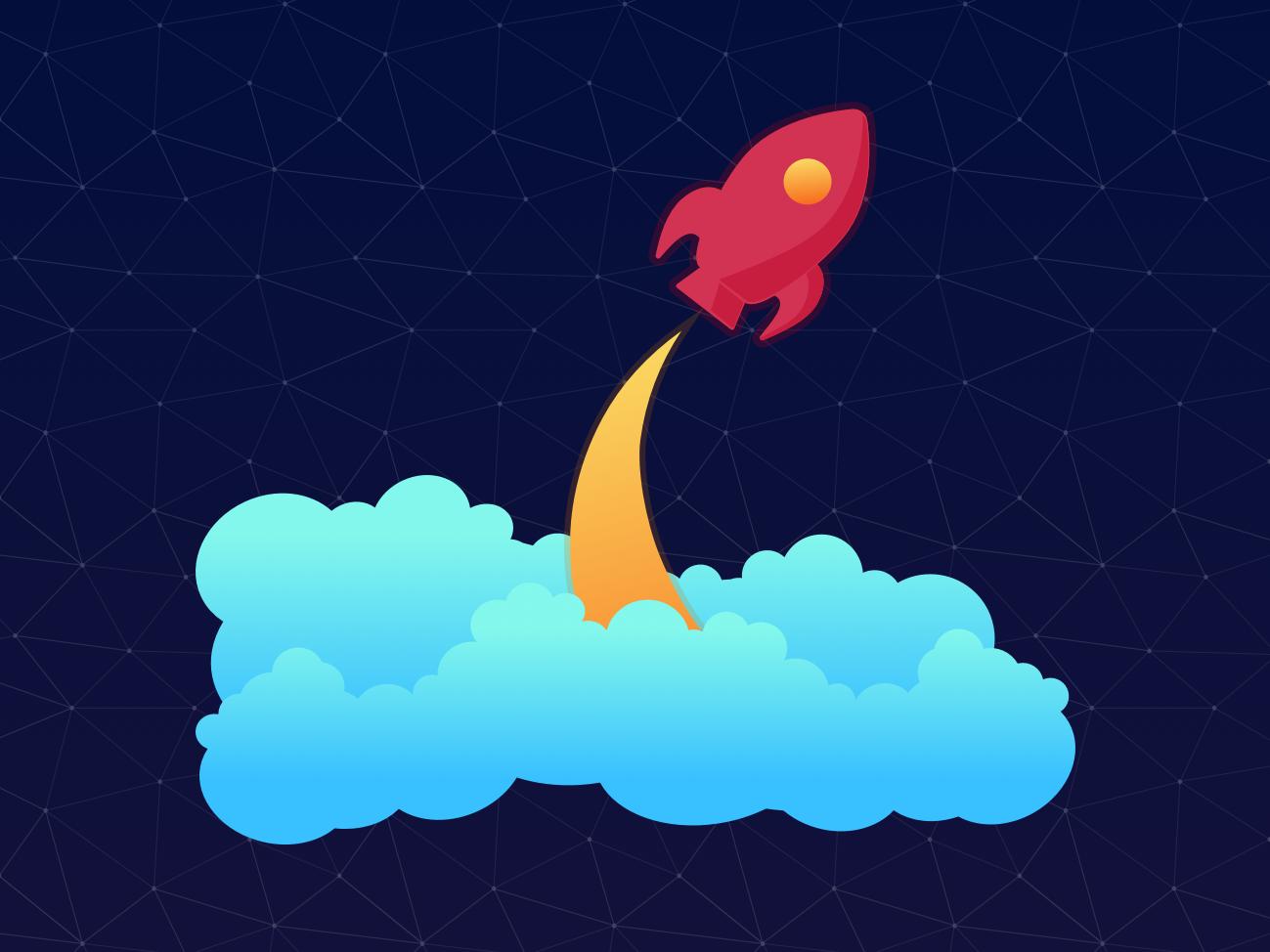 Rocket rocket launch blast off rocket clouds galaxy vector sky stars space adobe illustrator illustration