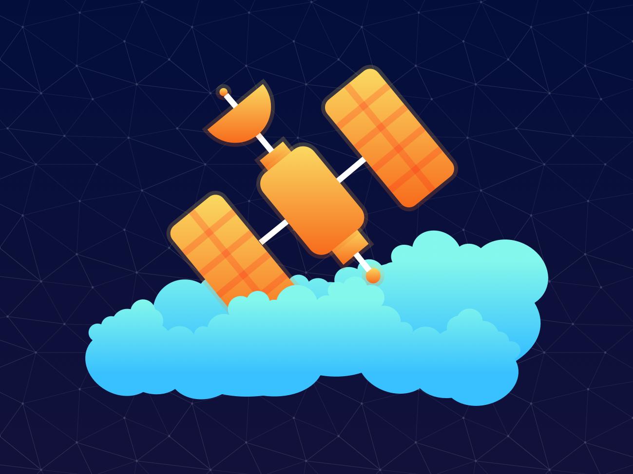 Satellite satellite clouds galaxy vector sky stars space adobe illustrator illustration