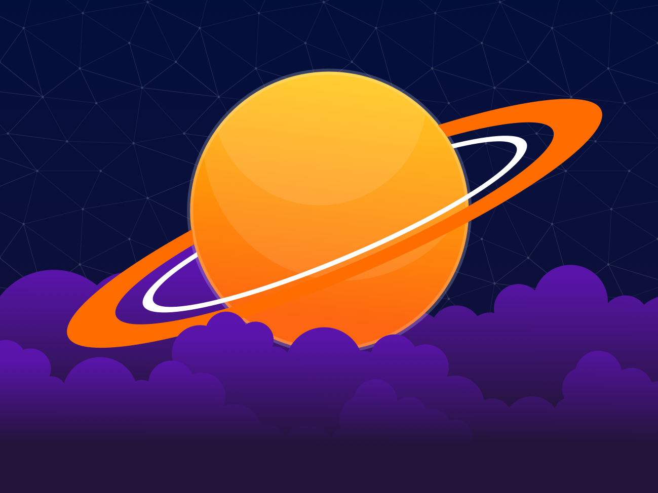 Orange Planet clouds saturn planet galaxy vector sky stars space adobe illustrator illustration
