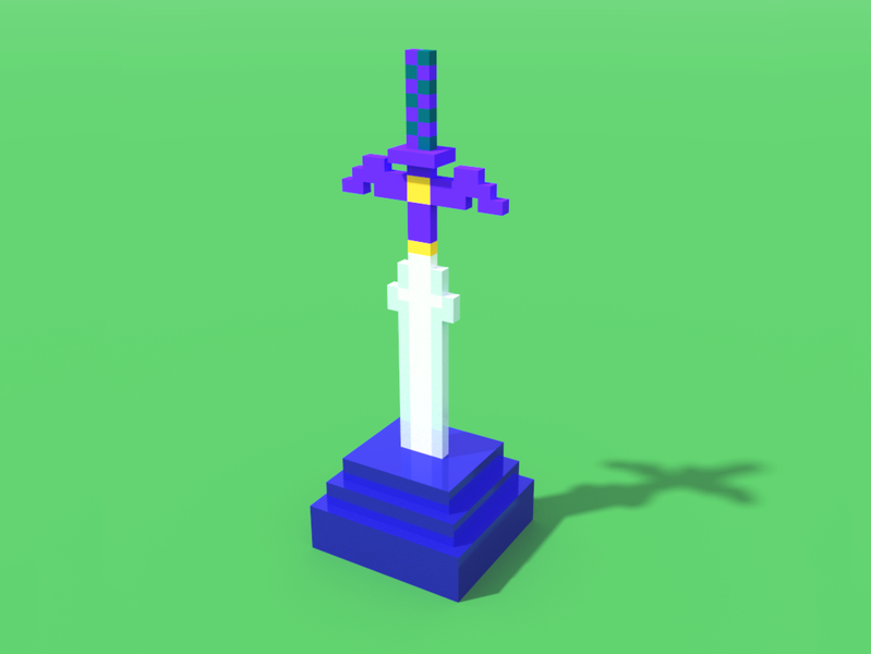 Master Sword pixel videogames master sword legend of zelda zelda voxelart voxel magicavoxel illustration design 3d