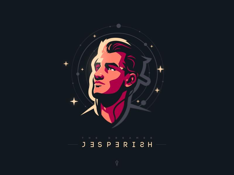 The Dreamer art epic space illustration logo mascot mascot logo jesperish