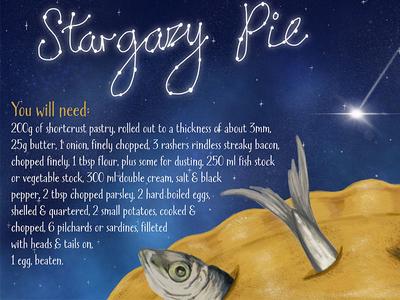 Stargazy Pie recipe food food illustration traditional recipe illustration illustrated recipe