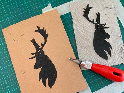 Stag Lino Print greeting cards printmaker printmaking linocut lino print