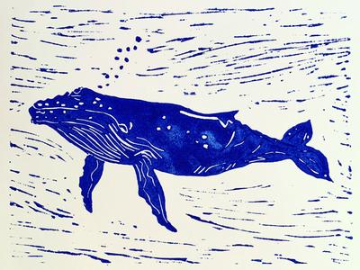Humpback Whale Lino Print whales lino printing printmaker printmaking linocut lino print