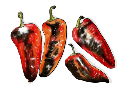 Roasted Peppers procreate illustration drawing scorched inktober 2018 peppers food food illustration