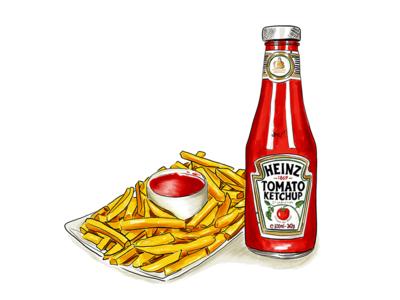 Ketchup and Fries digital art packaging bottle inktober 2018 food drawing food illustration illustration