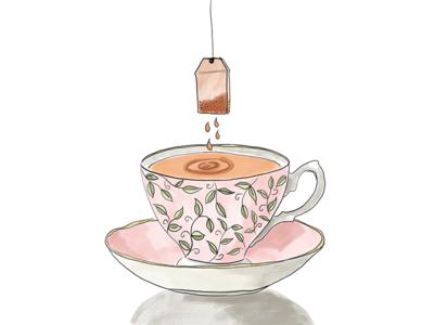 Tea Cup & Tea Bag illustrator drain inktober 2018 procreate food drawing food illustration illustration