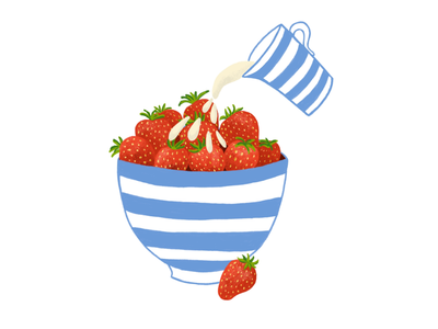 Strawberries and Cream wimbledon tennis food drawing food art food illustration