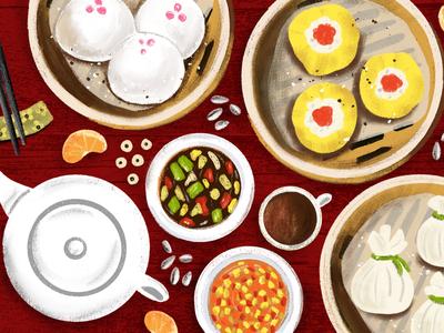 Dim Sum Birthday editorial illustration food dim sum illustrated food food drawing food art they draw and cook food illustration