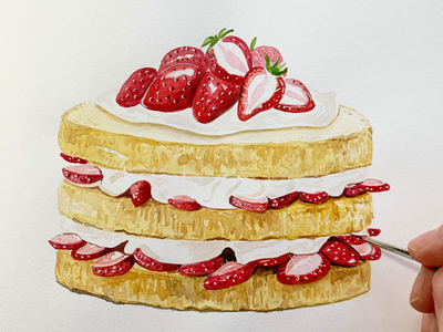Strawberry Shortcake food illustration food art illustration painting art watercolour strawberries food cake
