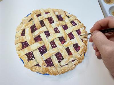 Mixed berry pie illustrated food food illustrator food art food illustration painting watercolour berries cherry pie pie