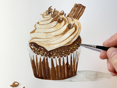 Chocolate cup cake - food illustration food cakes food painting food art food illustration watercolour cupcake cupcakes