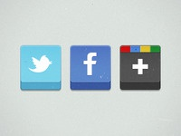 Twitter, Facebook, Google+ icons
