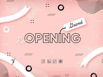 Grand re opening background app ux ui web vector minimal flat design illustration background