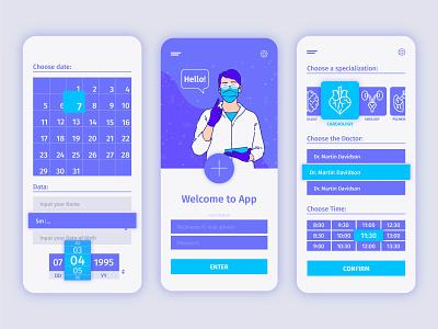 Medical booking app mobile medical design medical medical app web vector ux ui minimal illustration flat design app