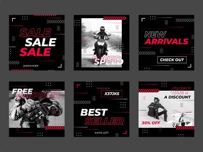 Instagram sale posts collection free vector design motorbike instagram instagram post