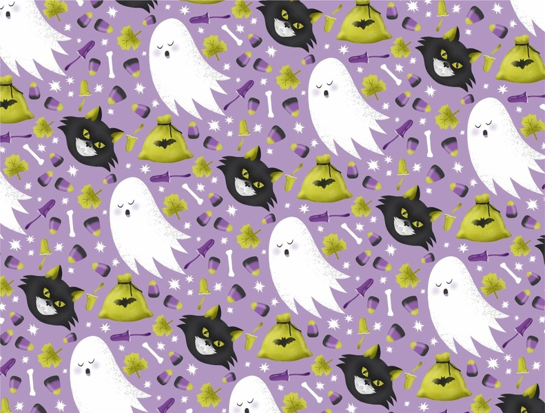 Halloween pattern design ghost cat halloween illustration vector pattern