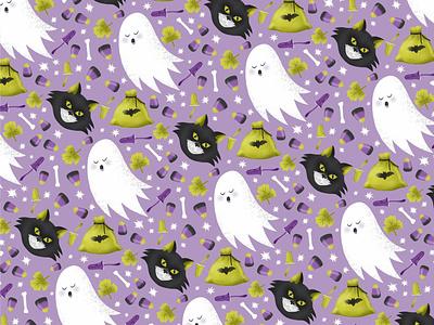 Halloween pattern design ghost cat halloween illustration vector pattern