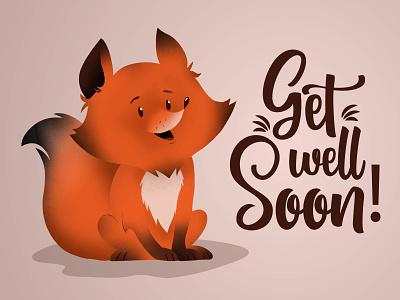 Get well soon illustration vector design procreate fox illustration