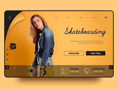 Sports landing page digital web skateboarding sport landing landing page vector design