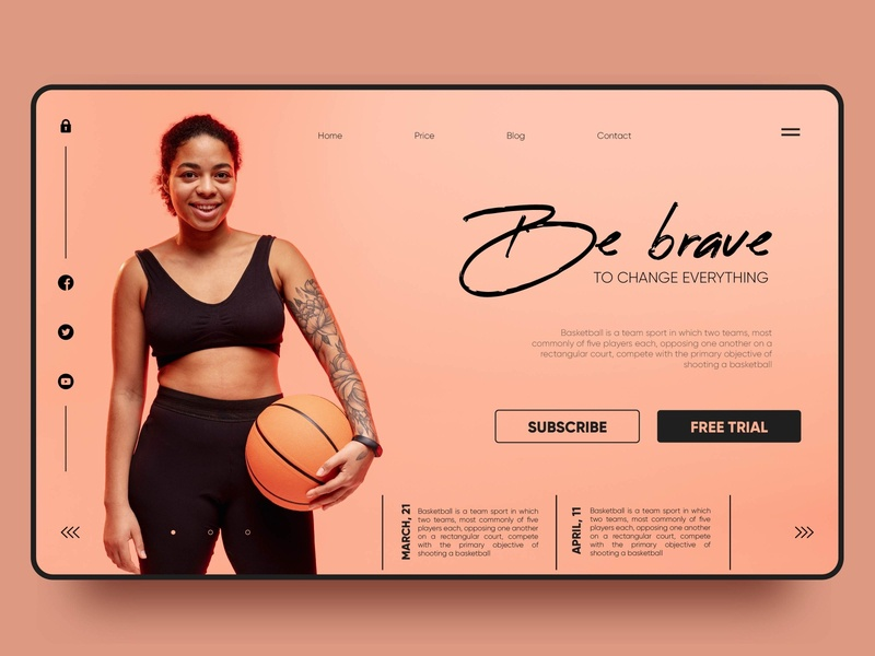 Be brave. Basketball landing page sports sport baseball landing page vector ux landing ui web design