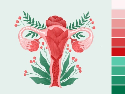 Female reproductive system with flowers illustration flowers illustration flowers flower reproductive system reproductive flat web vector design illustration
