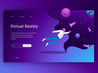 Virtual reality landing page spaceship spaceman space virtual reality ux landing page ui landing web illustration vector design