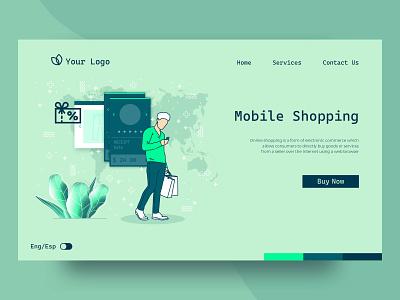 Shopping online landing page concept mobile shopping online shopping shopping flat ux landing page landing ui web illustration vector design