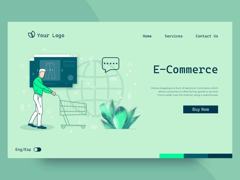 Shopping online landing page online shopping online shop shopping mobile flat ux landing page landing ui web illustration vector design