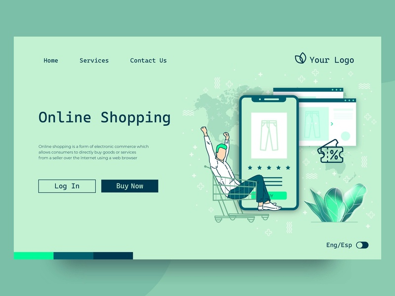 Shopping online landing page online marketing online shopping online shop mobile flat ux landing page landing ui web illustration vector design
