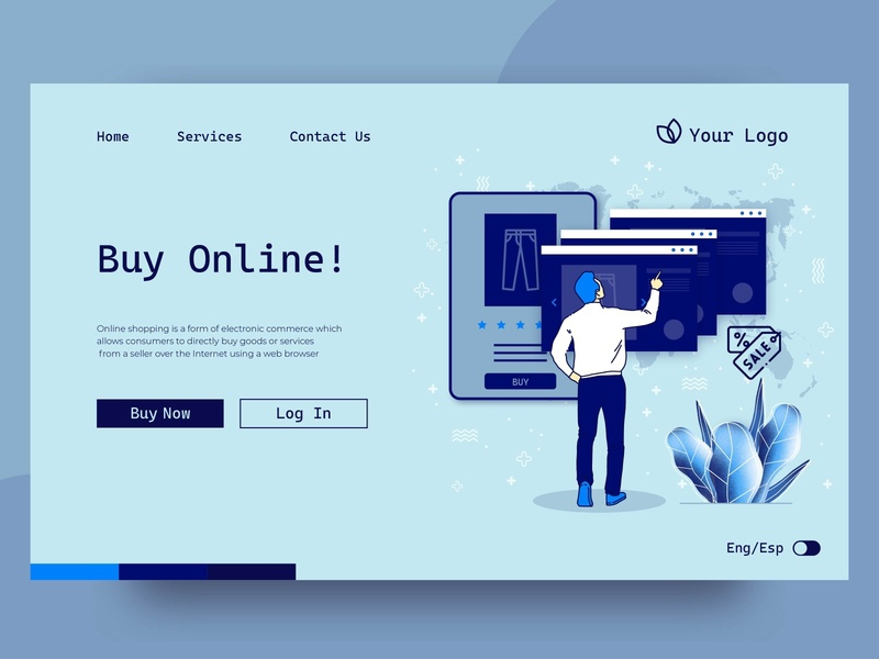 Shopping online landing page online marketing online shop online shopping mobile ux landing page landing ui web illustration vector design