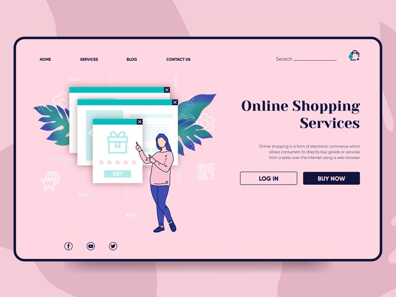 Shopping online landing page online marketing online store online shop online shopping mobile ux landing page landing ui web illustration vector design