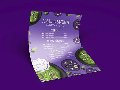 Halloween menu template branding typography halloween design halloween flyer halloween party halloween illustration vector design