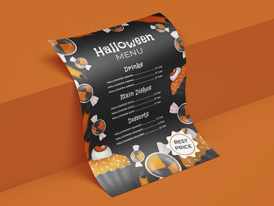 Halloween party template branding typography menu menu design halloween design halloween flyer halloween party halloween illustration vector design