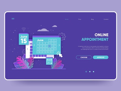 Appointment booking landing page template flat ux landing page landing ui web illustration vector design