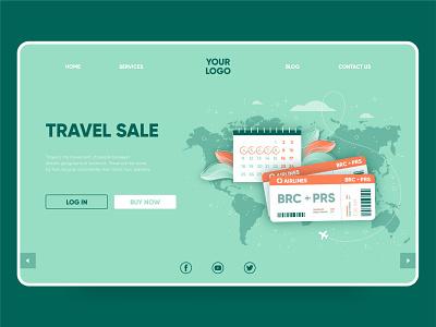 Travel sale landing page online marketing flat ux landing page landing ui web illustration vector design
